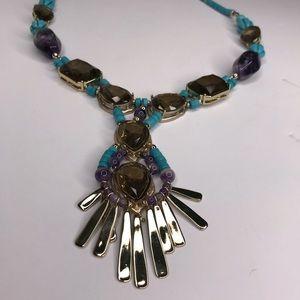 CHICO'S Long Beaded Turquoise Gold Boho Necklace